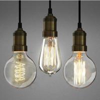 ROHS antique lamp bases - 40W W V V Filament Light Bulbs Vintage Antique Style Edison Light Light Bulb Lamp Holder LED Lamp Bases BULB E27