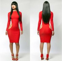 Wholesale Women s Sexy and Club Fashion Dress Long Sleeve Hollow Out Lady Bodycon Dresses with Red And Black