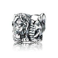 Wholesale Elephant Charms Elephant Loose Beads Safari Charm Sterling Silver European Beads Fit Pandora Style Chain Lw389