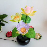 Wholesale F LED Colorful lotus lamp lotus fiber decorative lights for lamp Buddha Buddha Buddhist supplies long light lamp