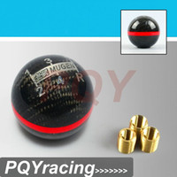 Wholesale J2 STORE Real Carbon Fiber MUGEN Gear Shift Knob Five Speed Manual Automatic Spherical Shift Knob For Honda Acura TOYOTA NISSAN