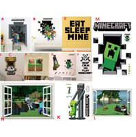 Removable decorative glass art - 2015 Kids D Minecraft Run Away Wall Stickers Creeper Decorative Wall Decal Cartoon Wall paper Kids Party Decoration Wall Art cm HOT