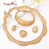 Bracelet,Earrings & Necklace asian homes - Weaternrain Big Heavy Gold Filled Women Home Party Jewelry Set of Adjustable Ring Top Fashion African Gold Jewelry A077