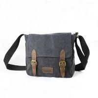 leather canvas laptop bag - new Washed cotton canvas top leather Blue Gray black Men s Vintage Canvas Shoulder Messenger Casual Travel Hiking Bag Laptop Multi func