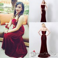 Graduation Dresses belt length - Hot Sale In Stock US4 US14 Real Pictures Mermaid Sweetheart Velvet Burgundy Metal Belt hour Shipping Evening Party Prom Dresses