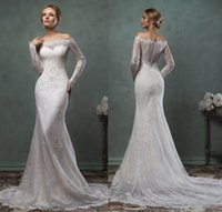 Cheap Amelia Sposa 2015 Sexy Bateau Mermaid Lace Wedding Dresses Long Sleeve Vintage Trumpet Backless Sheer Bridal Gowns Cheap Chapel Train