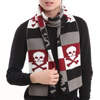 Wholesale 2014 New Thicken winter scarf men s knitting wool print wild skull scarves shawl wraps Four color WJ