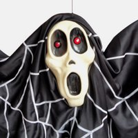 bat sounds - Halloween Supplies Haunted House Props Black Ghost Bats Plastic Sound Voice Control Activated Light Hanging Ghost Electric Toys