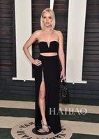 2016 Oscar Jennifer Lawrence Soirée Robe Noire Deux Pièces Robes de bal chérie perlée col haut de Split gaine longue Celebrity Pageat USURE