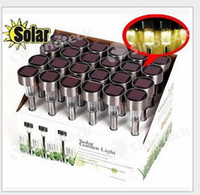 Wholesale Solar LED Light Lawn Lamp for Ground Garden Outdoor Party Decorative Light Waterproof Stainless Steel Mixed Colors Free DHL Factory Price