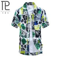 aloha beach - New Brand Summer Quick Dry Men Loose Aloha Shirt Print Hawaiian Party Sand Beach Shirts Big Size L XL Beach Shirts C06