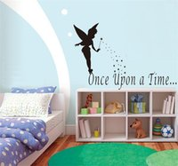 angle wallpapers - Once upon a time quote wall stickers Flying lovely angle wall decals for kids room vinyl wall mural Child room wallpaper