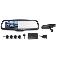 Wholesale 4 quot LCD Display Parking Sensor Rear View Camera Video Car Rearview Mirror Reverse Radar System V Car Parking Assistance order lt no tra