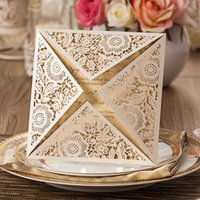 Wholesale 2015 New Laser Cut Wedding Invitations Gold Free Printing Wedding Invitation Card Flowers Hollow Wedding Cards
