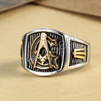 Wholesale Freemason Men s Silver Gold Ring Free Mason L Stainless Steel Masonic Ring