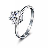 certified diamond ring - Certified CT VVS H Round Cut Moissanite Wedding Rings K Pure White Gold Jewelry For Engagement