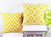 Wholesale Home Decorative Yellow Chevron Quatrefoil Linen Throw Cushion Cover Pillow Case for Bedding Sofa