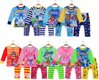 Cheap Baby Suits Set Baby Cartoon Clothing Set 9Colors Baby Long Sleeve Tshirt Pants 2PCS Outfits Set Baby Homewear Pajamas 4Sets Lot Color