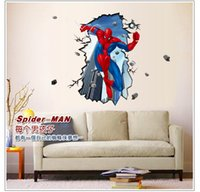 Wholesale 200pcs cm cm Big size Superman Spiderman D Wall Sticker for Kids Rooms Wall Adhesive home spider man decor wall decals