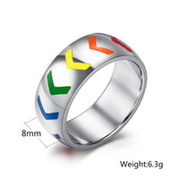 arrow tires - 5 Pairs Rainbow Tire Style Arrow Ring LGBT Lesbian Gay Pride Ring L Steel Gay Lesbian Rings
