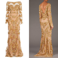 Cheap Zuhair Murad Long Sleeve Backless Long Evening Dresses New 2015 Real Picture Trailing Gold Appliques Illusion Dress Formal Prom Gowns