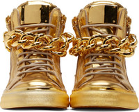 shoe chains - Top Brand Designer Zapatos Hombre Round Toe Men Hip Hop Sneakers Gold Chains Men Casual Shoes High Top Sneakers