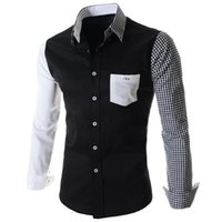 Wholesale Fashion Hot Sale One Patch Pocket Color Block Plaid Asymmetric Spliced Shirt Collar Long Sleeves Slimming Shirt For Men