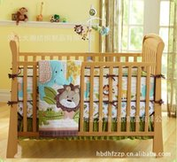 applique quilt patterns - 2016 Year African Forest Lion Pattern Baby Bedding Set Cotton Embroidery Pieces Crib Bedding Set Quilt Bumper Skirt Mattress Cover A