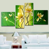 Wholesale Handmade Piece Canvas Art Green White Decoration Of Orchids Oil Painting Wall Pictures For Living Room Modern Flower Pictures