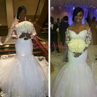 Wholesale Vestido De Novia Mermaid Wedding Dresses Off The Shoulder V Neck Long Sleeves Court Train Long Wedding Bridal Gowns