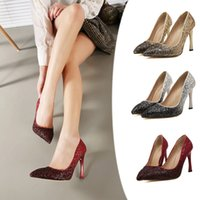 nude pumps - 2015 Hot New Women Fashion Burgundy Gradient Color Glitter Prom High Heels Silver Weddings Party Shoes Woman Nude Pumps
