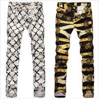 Wholesale Men s Belt Tiger Printed Jeans Fashion Slim Fit Black Denim Pants Straight long Trousers Golden White Black Flower Jeans For Men