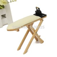 best furniture covers - New Delicate little Small Wooden Plate Scale Dolls House Furniture Miniature Iron Ironing Board Cover Clip Set best price
