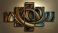 abstract artwork for sale - 5 Panel Wall Art Hand Painted Artwork Change Color Modern Abstract Oil Painting On Canvas For Sale Group Oil Paintings