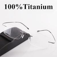 al por mayor cuadro de la caja enmarca al por mayor-Cuadro de ojos al por mayor del clásico ultra-ligero bastidor de titanio gafas anteojos sin montura marco miopía marco de imagen Gafas de grau ENVÍO GRATIS