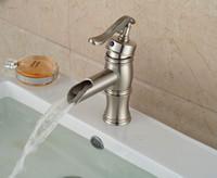 bamboo water pump - Water Pump Waterfall Spout Bathroom Basin Faucet Brushed Nickel Sink Mixer Tap