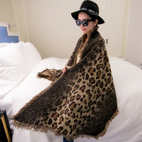 Wholesale 4 Color Leopard Pashmina bevel poncho Women Warmful Cashmere cape Dot shawls and scarves Winter Scarf Fall fashion