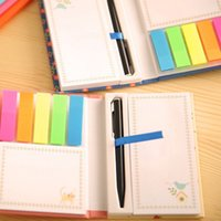 Wholesale Hot sale Home Office Colorful Sticky Notes Portable Post It Notes With A Pen Memo Paper Stickers Color Random hot sale via DHL