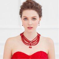 fashion beaded earrings - 2015 New Fashion Wedding Bridal Crystal Rhinestone Clear Red Pearls Beaded Tassel Bubble Statement Pendant Necklace Earrings Jewelry Set