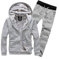 Wholesale New Arrival Men s Sports Clothing Sets Sweat Suits Tracksuit for Man Casual Spring Autumn Thicking Hoody Fur Lining Fleece Hoodies Pant