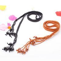 Wholesale 2015 New Fashion Women Belt Beaded Tassel Designer Belts For Women Casual Belt Self Tie Thin Waist Strap Black Brown order lt no track