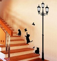 Wholesale Black Lamp Cat Birds Removable Wall Paper Sticker Decals Kids Home Decor