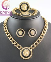 Wholesale New Vintage Lion Head Myth Medusa Pendant Necklace Earrings Bracelet Ring K Gold Plated Rhinestone Fashion Jewelry Set
