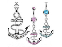 anchor barbell - 2016 New Drill anchor hanging barbell belly button navel ring bar body piercing jewelry Chain