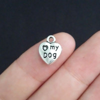 dog charms - BULK My Dog Paw Heart Charms Antique Silver Tone New DIY Jewelry Findings Making For Handmade Jewelry Accessories