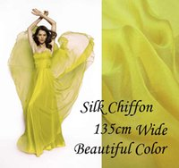 gorgeous fabrics - Solid Color BRIGHT YELLOW Gorgeous Pure Silk Soft Shee Chiffon Fabric momme for By The Meter Yard inches alpc