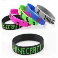 jelly bracelets - 2015 New Minecraft Creeper wrist band silicone bracelet My world Jelly Glow boys girls fashion wristband bracelets colors