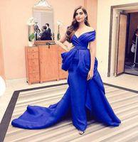 Wholesale Arabic Dubai Evening Dresses Elegant Off the shoulder Floor length Zipper Sleeveless Sheath India Prom Gowns Custom Made