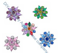 Wholesale 50pcs crystal colors zinc alloy bauhinia flower crystal Noosa MM mm snap ginger snap button Chunks Clasps Snap Jewelry Noosa K85653