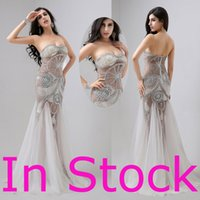 modern dresses - In Stock Sexy Crystal Formal Evening Prom Dresses Beads See Through Tulle Pageant Celebrity Party Gowns Real Image